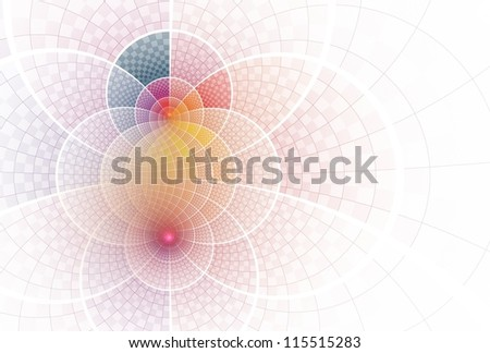 Intricate blue, pink, purple, yellow and orange abstract curve design on white background - stock photo