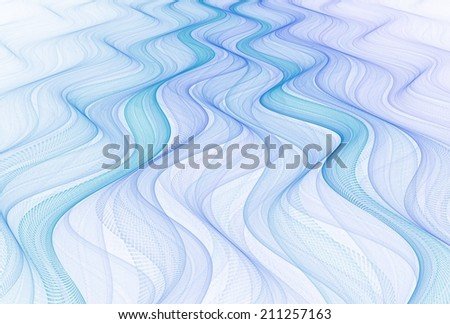 Intricate blue / purple abstract woven waves on white background - stock photo