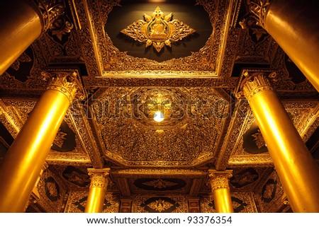 Intricate ceiling in Swedagon Pagoda, Yangon Myanmar - stock photo