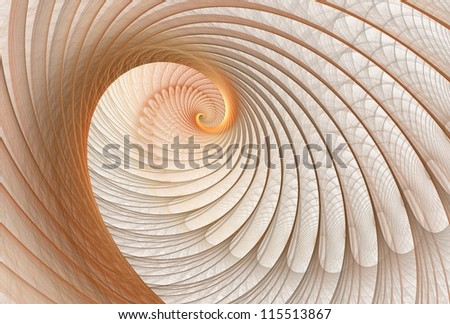 Intricate copper / gold abstract wave / spiral design on white background - stock photo