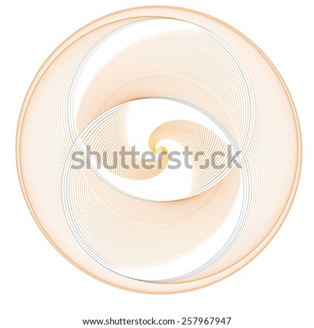 Intricate copper / gold abstract woven disc / spiral design on white background (3D)  - stock photo