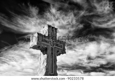 Intricate Cross Headstone in Infrared Horizontal With Copy Space - stock photo