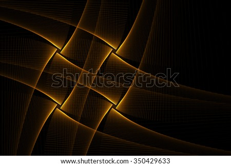 Intricate gold / copper abstract woven diamond / cross string design on black background - stock photo