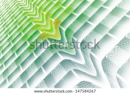 Intricate green and blue abstract 'V' wave on white background - stock photo