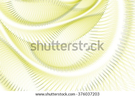 Intricate lime green abstract curved / woven design on white background  - stock photo