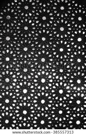 Intricate pattern on the walls of Paigah tombs - stock photo