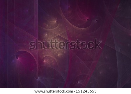 Intricate peach, pink and purple textured spiral design on black background - stock photo