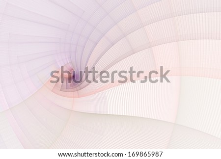 Intricate pink and purple abstract string spiral on white background - stock photo