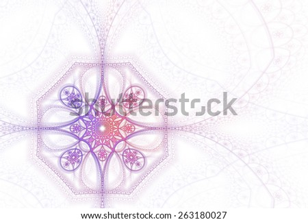 Intricate pink / purple abstract flower / octagon on white background  - stock photo