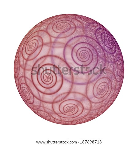 Intricate pink / purple abstract spiral sphere on white background - stock photo