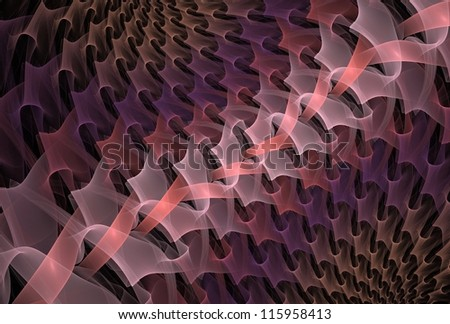 Intricate pink, purple and peach abstract woven ribbon design on black background - stock photo