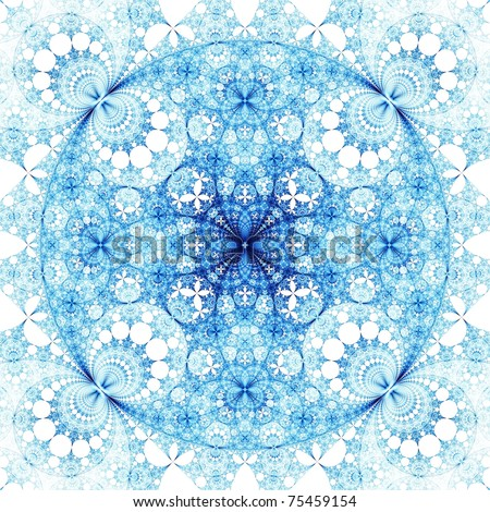 Intricate purple, cyan and blue abstract fractal disc on white background - stock photo