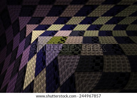 Intricate purple / green abstract checkered 3D design on black background - stock photo