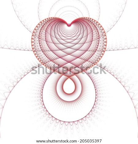 Intricate red / pink abstract woven fractal heart design on white background  - stock photo