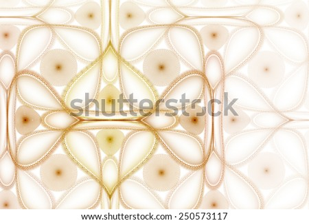 Intricate shiny orange / yellow abstract dome / square design on white background  - stock photo