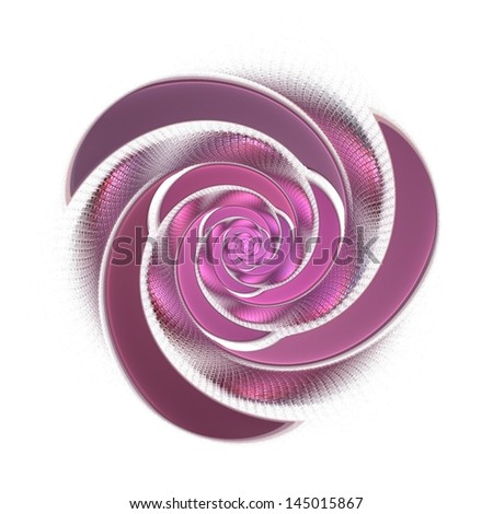 Intricate textured metallic spiral rose on white background - stock photo