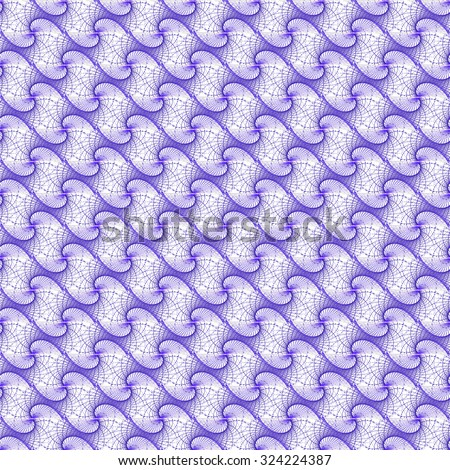 Intricate woven purple string design on white background (tile able) - stock photo