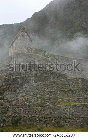 Intricately crafted stonework at Machu Picchu, Peru - stock photo