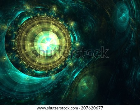 Intriguing abstract background with iridescent elements in rich green Emeralds - stock photo