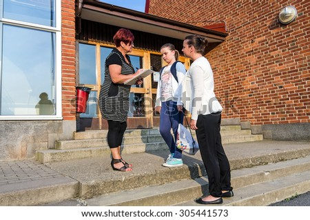 Introduction in first school day  - stock photo