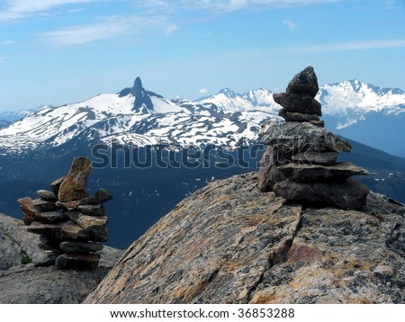 Inukshuk at Mt Whistler summit, British Columbia, Canada - stock photo