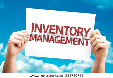 Inventory Management card with sky background - stock photo