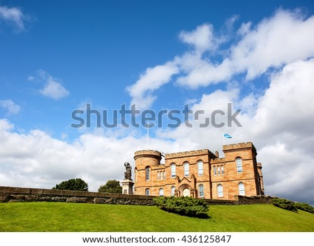 Inverness Castle, an 11th century castle in the center of Inverness town,  Scotland, UK. - stock photo