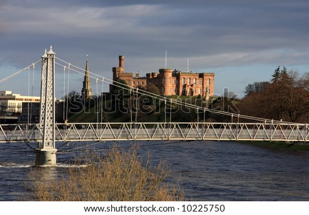 Inverness Castle home of Inverness-shire's County Hall situated on the banks of the River Ness - stock photo