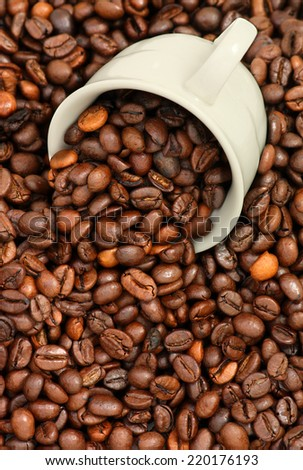 Inverted cup from coffee beans - stock photo