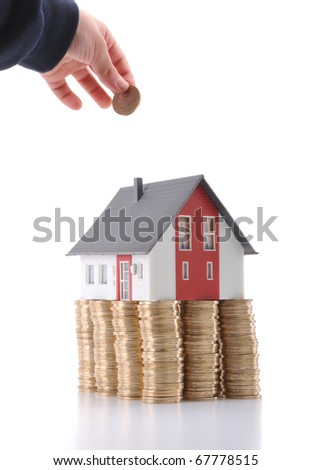 Invest in real estate concept - a series of COIN HOUSE images. - stock photo