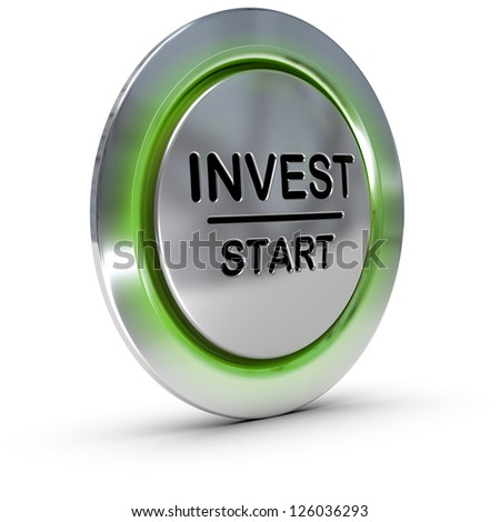 invest start button over white background, concept of investment and risk management - stock photo