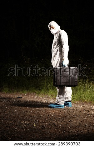 Investigation of crimes - technician on place - stock photo