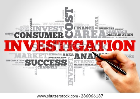 Investigation word cloud, business concept - stock photo