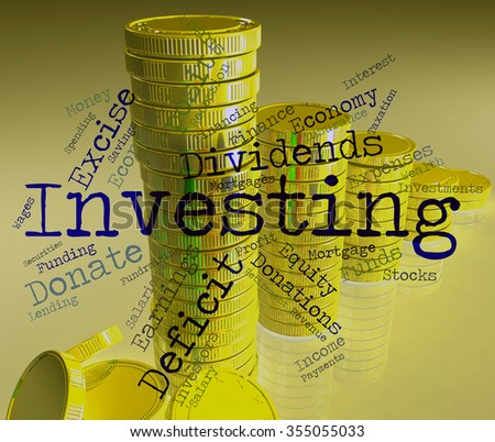 Investing Word Showing Return On Investment And Growth Portfolio  - stock photo
