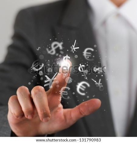 Investment concept. Pretty business woman with currency symbols. - stock photo