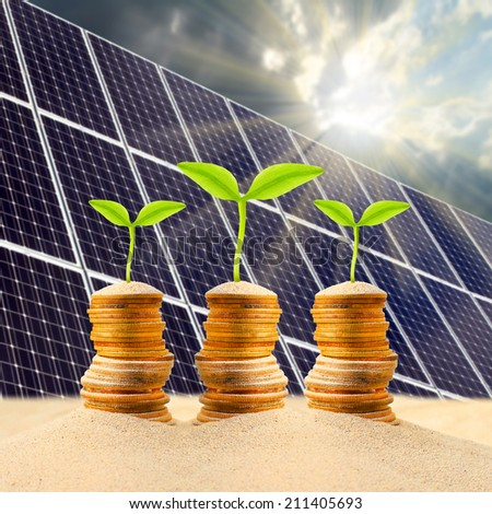 Investment in renewable energy. Business metaphor. - stock photo