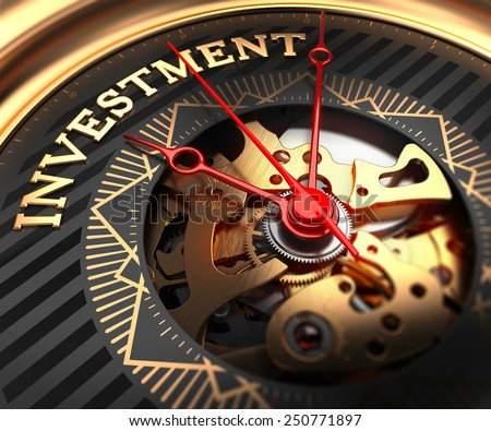 Investment on Black-Golden Watch Face with Watch Mechanism. Full Frame Closeup.  - stock photo