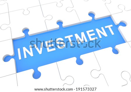 Investment - puzzle 3d render illustration with word on blue background - stock photo