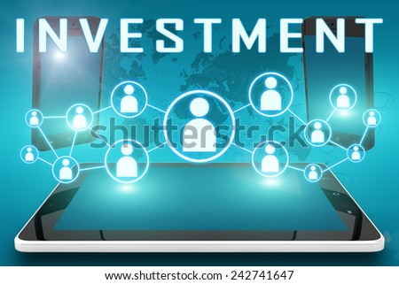 Investment - text illustration with social icons and tablet computer and mobile cellphones on cyan digital world map background - stock photo