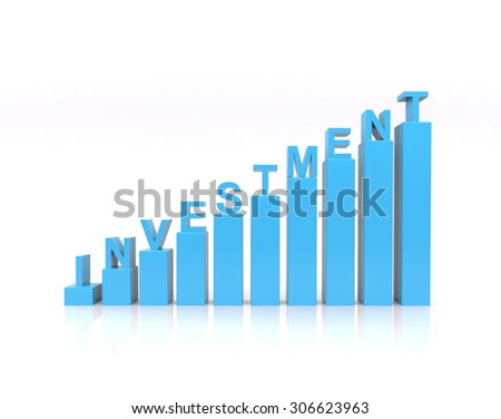 Investment text on growth chart. - stock photo