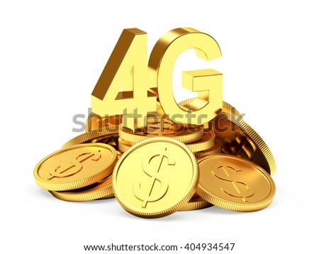 Investments in modern technology. 4G symbol on a pile of golden coins isolated on white background. 3d illustration - stock photo
