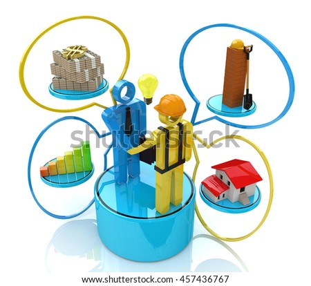 Investor meeting with the builder in the design of access to information relating to investment in construction. 3d illustration - stock photo