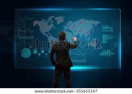 Investor with growth chart on global. - stock photo