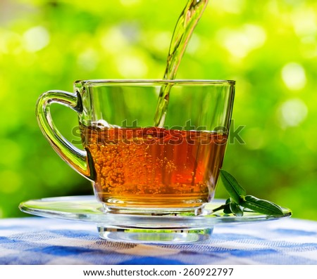 Invigorating fresh aromatic tea pouring into glass cup on the blue and white tablecloth in garden and on nature background. - stock photo