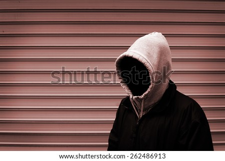Invisible man in the hood duotone picture - stock photo