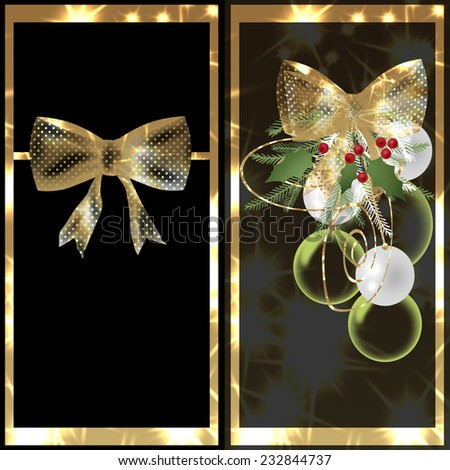 Invitation card golden and black with ribbon and christmas balls - stock photo