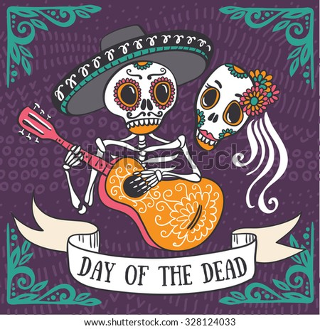 Invitation poster to the Day of the dead party. Dea de los muertos card. - stock photo
