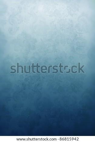 Invitation template featuring cool retro floral wallpaper in Aqua - stock photo