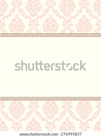 Invitation to the wedding or announcements. Ornate damask background - stock photo