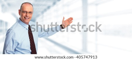 Inviting businessman. - stock photo